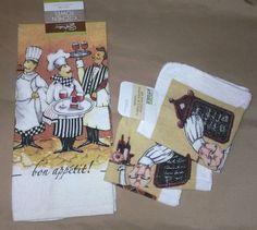 NEW Fat Chef 3 Piece Kitchen Towels, Wine Theme, Bon Appetit