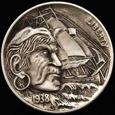 ALEX OSTROGRADSKY HOBO NICKEL - PIRATE SHIP - 1938 BUFFALO NICKEL Sculpture Art, Sculptures, Pirate Coins, Pirate Art, Hobo Nickel, Coin Art, World Coins, Coin Collecting, Art Forms