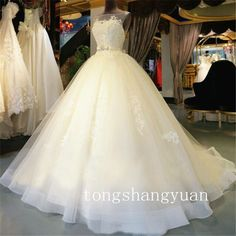 Alluring Princess New Wedding Dress Bridal Gown Beading Lace Custom Size 2016