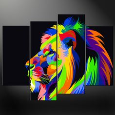ABSTRACT-LION-SPLIT-CANVAS-WALL-ART-PICTURES-PRINTS-LARGER-SIZES-AVAILABLE-111515731694
