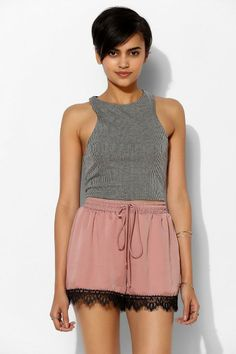 Pins And Needles Lace-Trim Satin Short #urbanoutfitters