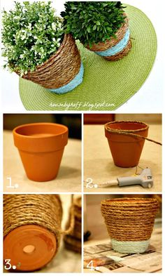 Make Your Own Rope-Wrapped Pots - 110 DIY Backyard Ideas to Try Out This Spring & Summer - DIY & Crafts
