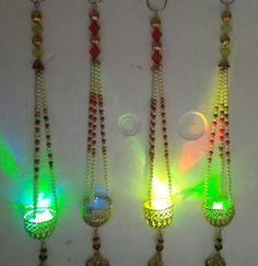 Hanging diyas with LED Lights Diwali Craft, Diwali Diy, Diwali Gifts, Diy Diwali Decorations, Festival Decorations, Wedding Gift Boxes, Wedding Gifts, Acrylic Rangoli, India Crafts