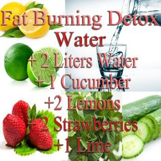 Fat burning detox water. Slice the ingredients and add everything into a pitcher. Let soak for an hour.