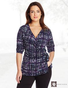 Anne Klein Women's Plus-Size Abstract Plaid Print Top