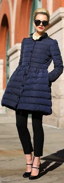 A-line puffer coats that are warm and femme.