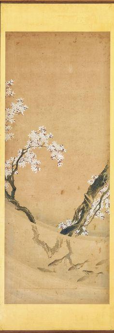 Detail. Birds, Animals, and Plants Representing the Twelve Months. Japanese folding Screen. Artist: Katsushika Hokusai 葛飾北斎 (1760 - 1849). Edo period, ca. 1820-1835. Freer.