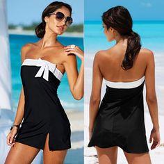 Summer Beach Wear Dress Bow Black Mini Holiday Girls Sexy Swimwear Tunics