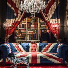 @botanicaetcetera  Only in England No.3. Timothy Oulton's take on the Union Jack #unionjack #flag #logo #national #UK #Britain #standard #architecture #design #interior #lux #interiordesign #interiordecor #decor #living #lifestyle #architecture #chandelier #bookcase #redwhiteandblue #uniform #johnbull #bulldog