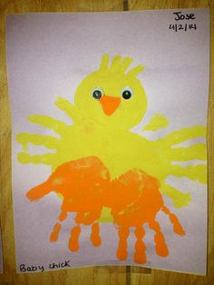 Easter handprint baby chick:)