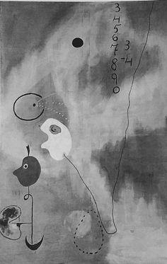 Surrealismo; Joan Miró; Ano: 1925. A adição. O movimento não era um estilo ou matéria de estética; era um modo de pensar e conhecer, uma maneira de sentir um estilo de vida, o surrealismo professava uma fé poética no homem é seu espírito. A imagem é uma pintura de Miró onde não há uma direção consciente de seu pincel, criando  assim uma pintura com expressão intuitiva, espontânea, de seu subconsciente, ou seja algo de um sentimento único e vivido.