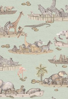 Cole and Son Zambezi wallpaper in Multi-Coloured from The Ardmore Collection Tier Wallpaper, Neutral Wallpaper, Print Wallpaper, Animal Wallpaper, Wallpaper Roll, Bathroom Wallpaper, Funky Wallpaper, Iphone Wallpaper, Animal Floats