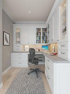 Aspen White Shaker – Ready to Assemble Office Cabinetry – Office Cabinetry – All… – Home Office Design Layout Tiny Office, Office Nook, Home Office Space, Home Office Design, Home Office Decor, Home Decor Kitchen, Office Setup, Desk Office, Office Ideas