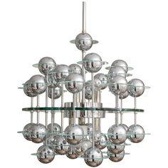 Glass & Chrome Atomic Sputnik Chandelier