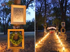 love the use of photo frames for extra details amongst the trees!