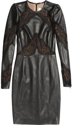 ShopStyle: Valentino Lace-paneled leather dress