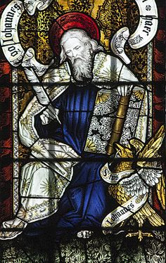 Saint John the Evangelist. Stained glass detail from the church of St John the Evangelist in Cowley, which is the chapel of St Stephen's House.