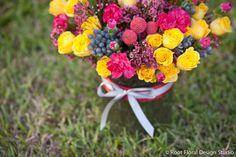 Yellow Roses & Pink Carnations  www.rootfloraldesign.com
