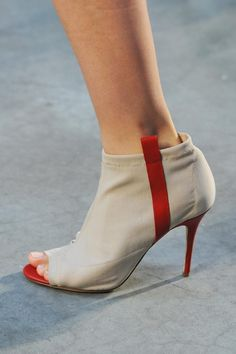 Thakoon Open-Toe Ankle Boots with Red Elements Spring 2014 RTW Shoes