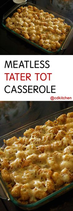 Tater tot casserole is an iconic dish in the midwest. This version nixes the ground beef that's in the original version and adds a crunchy cornflake topping. You can easily change things up by using other flavored cream soup (like… Continue Reading → Tator Tot Casserole Recipe, Tater Tot Recipes, Tater Tot Breakfast Casserole, Easy Casserole Recipes, Vegetarian Casserole, Hamburger Casserole, Potato Recipes, Casserole Dishes, Potato Dishes
