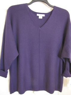 LIZ CLAIBORNE WOMAN Dolman Sleeves V Neck Sweater Purple Size 2X Ret $47 NWT.  Great color on anyone!