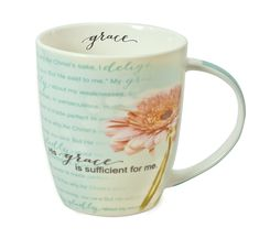Just right ceramic mug with art and Scripture, plus inside accent for you as you sip.His grace is sufficient for me. Grace is Sufficient, Flower Mug