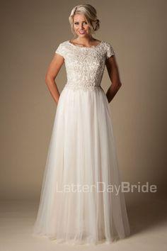 'Cosette' modest wedding gown, beaded bodice, modest bride