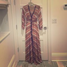 """Vintage dress Cool sheer Missoni style dress with faux leather detail. Gathered cuffs. Long (I am 5'9"""" and it reaches the floor, but you can easily hem it) Va va voom Dresses Maxi"""