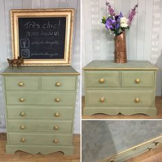 Pine bedroom furniture refinished with Chateau Grey Chalk Paint™, frottage to the tops, wax finish varnish, and Rub 'n Buff gilding wax.