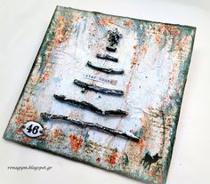 december challenge Xmas canvas by Eirini Tsaima. December Challenge, Card Creator, My Canvas, Winter Time, Altered Art, Mixed Media, Card Making, Xmas, Christmas