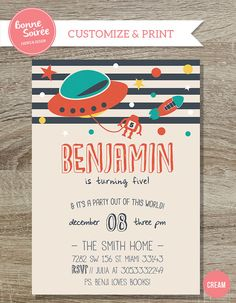 Birthday Boy Outer Space Invitation Custom by BonneSoireeDesigns