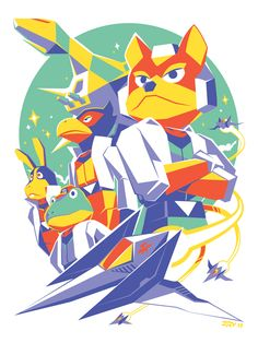 """Fox Team"" by JMV Inspired by Star Fox featuring Fox McCloud, Falco Lombardi, Peppy Hare, and Slippy Toad Star Fox 64, Zero Wallpaper, Fox Mccloud, Retro Videos, Arte Horror, Fox Art, Video Game Art, Cultura Pop, Super Smash Bros"