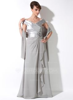 A-Line/Princess Off-the-Shoulder Floor-Length Chiffon Charmeuse Mother of the Bride Dress With Lace Flower(s) Cascading Ruffles (008006117) - JJsHouse