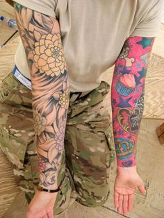 2 Different Sleeve Tattoo - http://99tattooideas.com/2-different-sleeve-tattoo/ #tattoo