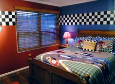 race car bedroom - love the paint and checkered border! Love this for C's room. Car Bedroom, Bedroom Themes, Bedroom Decor, Teen Bedroom, Modern Bedroom, Bedroom Wall, Race Car Room, Car Themed Rooms, Bedroom Ideas Pinterest