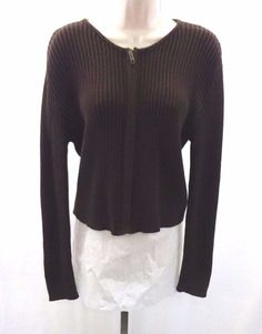 BALL OF COTTON Women's Green Brown Sweater Cardigan Size L ...