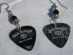 Handmade+Jack+Daniels+Guitar+Pick+Earrings+by+SouthernGirlGifts,+$12.99