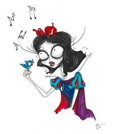 snow white disney tim burton singing art