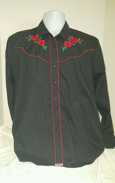 68cd1b5b333d1 Women s XL Ely Country Charmer Black American Red Rose Western Long Sleeve  Shirt  ElyCountryCharmer