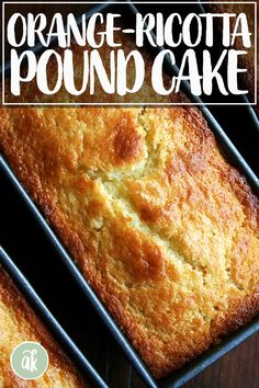 Flavored with orange zest and orange (or almond) liqueur, this incredibly tasty and moist orange ricotta pound cake is the perfect treat. Lime Desserts, Dessert Recipes, Plated Desserts, Food Cakes, Cupcake Cakes, Cupcakes, Ricotta Pound Cake, Loaf Cake, Pound Cake Recipes