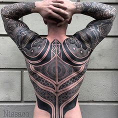 The last angle. Sorry for some posted. Done in Germany at @smilindemonstattoo  We started from 2016 Oct. My favorite battle suit. Some part in right arm are Different.