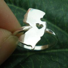 I Heart New Jersey Silver Ring  NJ New Jersey Love Map by yhtanaff, $35.00