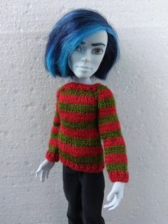 Monster High boy clothes. Hand-knitted sweater pullover with | Etsy Monster High Boys, Monster High Doll Clothes, Knitted Dolls, Knitted Hats, Crochet Hats, Clothes Crafts, Green Stripes, Christmas Sweaters, Christmas Time