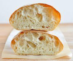 Recipe for perfect ciabatta bread or rolls. No bread machine required. Recipe for perfect ciabatta bread or rolls. No bread machine required. Ciabatta Roll, Ciabatta Bread Recipe, Bread Recipes, Cooking Recipes, Cooking Tips, Quick Recipes, Le Diner, Home Baking, Fresh Bread