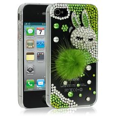 Cotton Tail Green iPhone 4 Case for Apple iPhone 4 & 4s - $49.99 - #Rabbit #Rhinestones #Designer #Glamour #Bling
