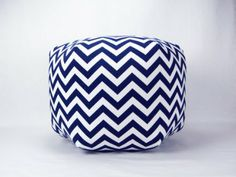 "Amazon.com - 24"" Floor Ottoman Pouf Pillow, Navy Blue and White Chevron Zig Zag"
