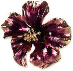 Jones New York Brooch, Gold-Tone Purple Open Flower Pin on shopstyle.com