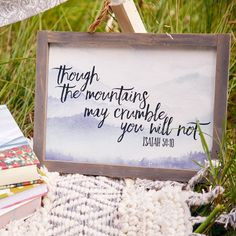 No matter the circumstance, with God you will not fall. Keep sweet reminders close to your heart with inspiring home decor. Scripture Art, Bible, Isaiah 54 10, Mere Christianity, All That Matters, Porch Signs, God Loves Me, Daily Devotional, Christian Living