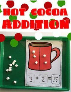 Hot Cocoa Addition FREE by Happy Little Kindergarten Addition Activities, Math Addition, Math Activities, Simple Addition, Kindergarten Freebies, Kindergarten Classroom, Christmas Math, Preschool Math, Maths