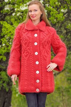 Pastel red hand knitted mohair sweater cardigan fuzzy fashion knitted jacket #SuperTanya #Knitted #Casual